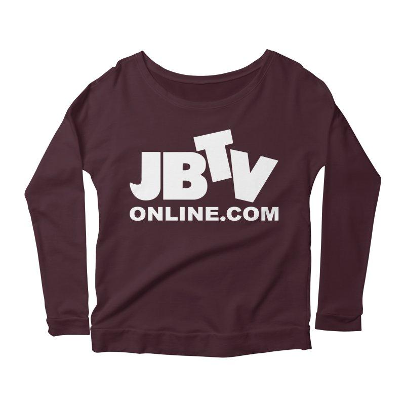 JBTV White Logo Women's Longsleeve Scoopneck  by JBTV's Artist Shop
