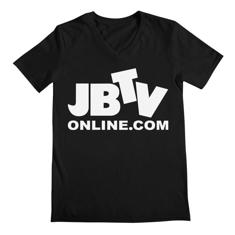 JBTV White Logo Men's V-Neck by JBTV's Artist Shop