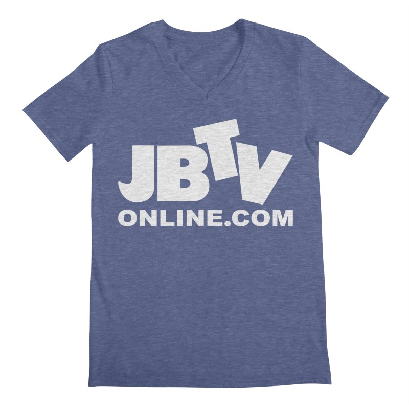 JBTV White Logo Men's Regular V-Neck by JBTV
