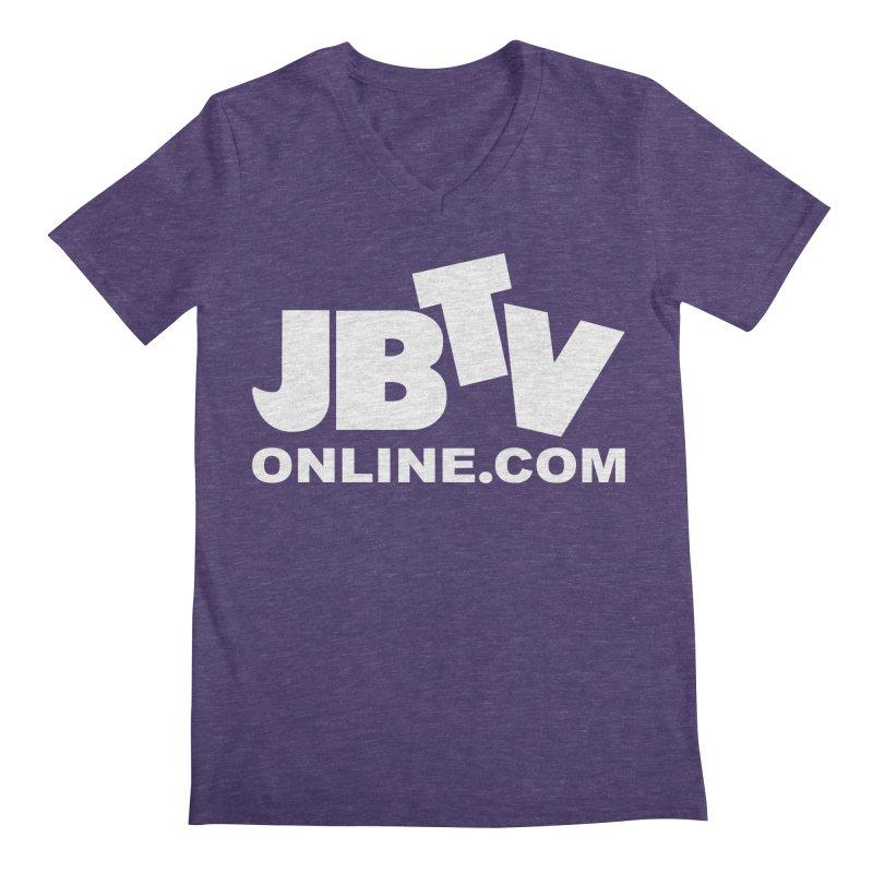 JBTV White Logo Men's Regular V-Neck by JBTV's Artist Shop
