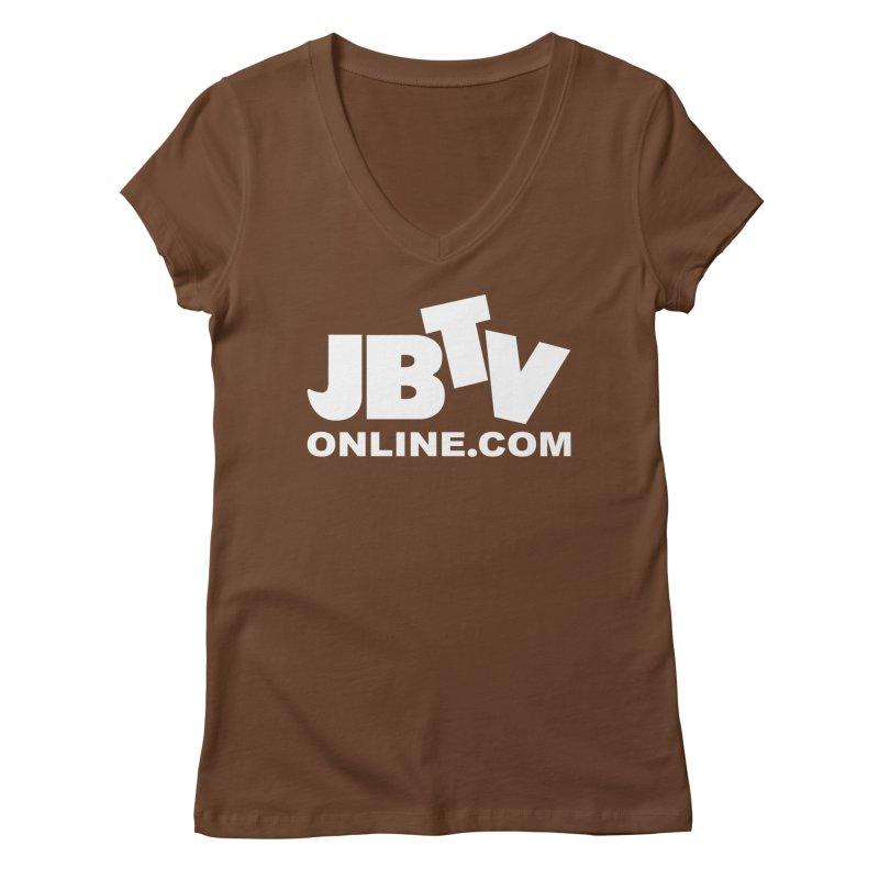 JBTV White Logo Women's V-Neck by JBTV's Artist Shop