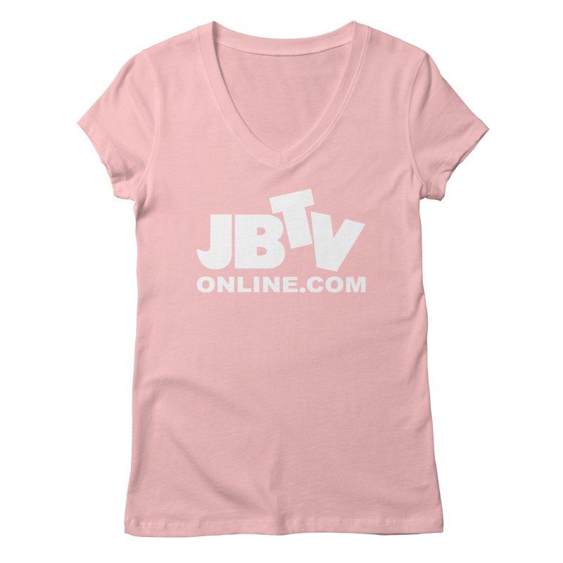 JBTV White Logo Women's V-Neck by JBTV