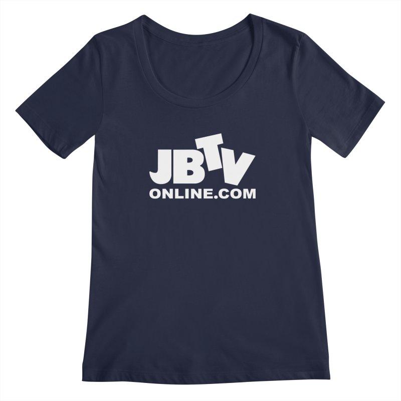 JBTV White Logo Women's Regular Scoop Neck by JBTV's Artist Shop