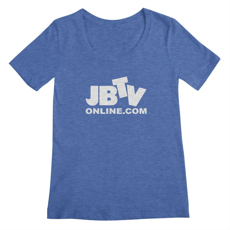 JBTV White Logo Women's Regular Scoop Neck by JBTV's Artist Shop