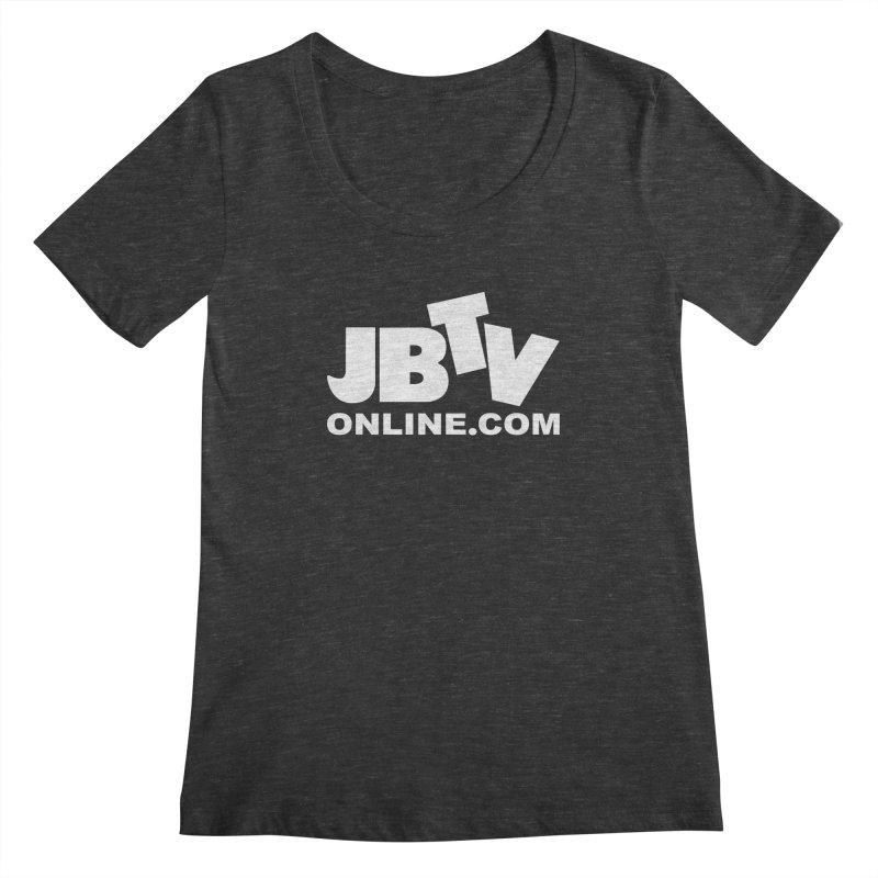 JBTV White Logo Women's Scoopneck by JBTV's Artist Shop