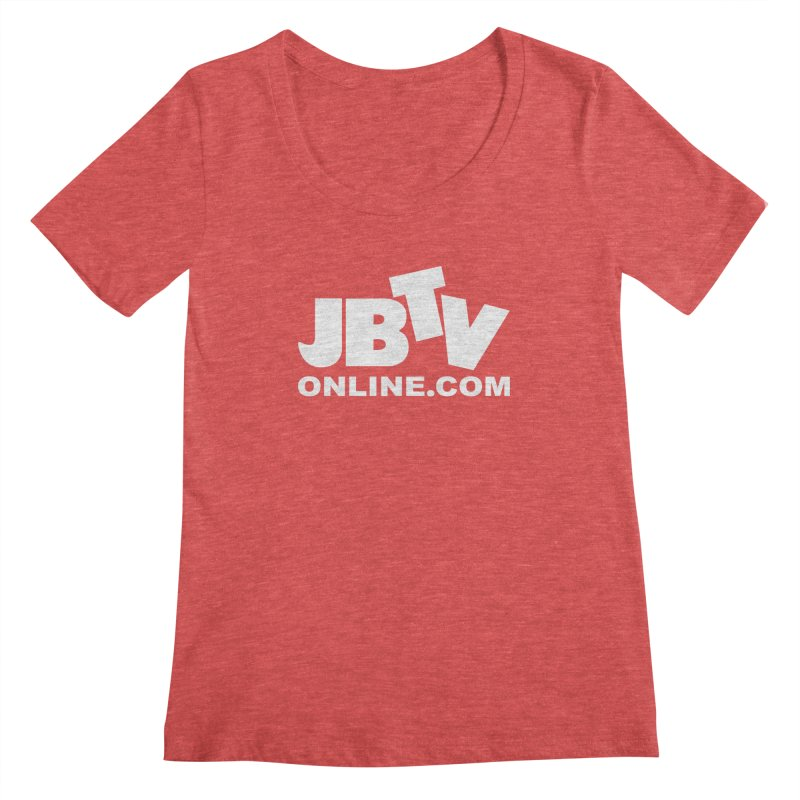 JBTV White Logo Women's Scoop Neck by JBTV's Artist Shop