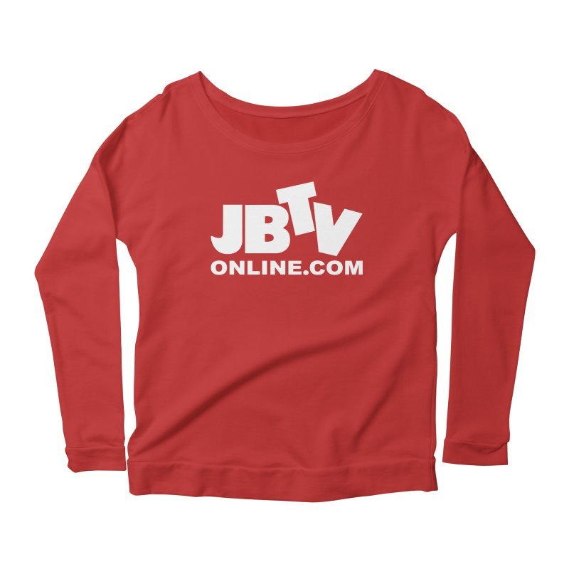 JBTV White Logo Women's Scoop Neck Longsleeve T-Shirt by JBTV
