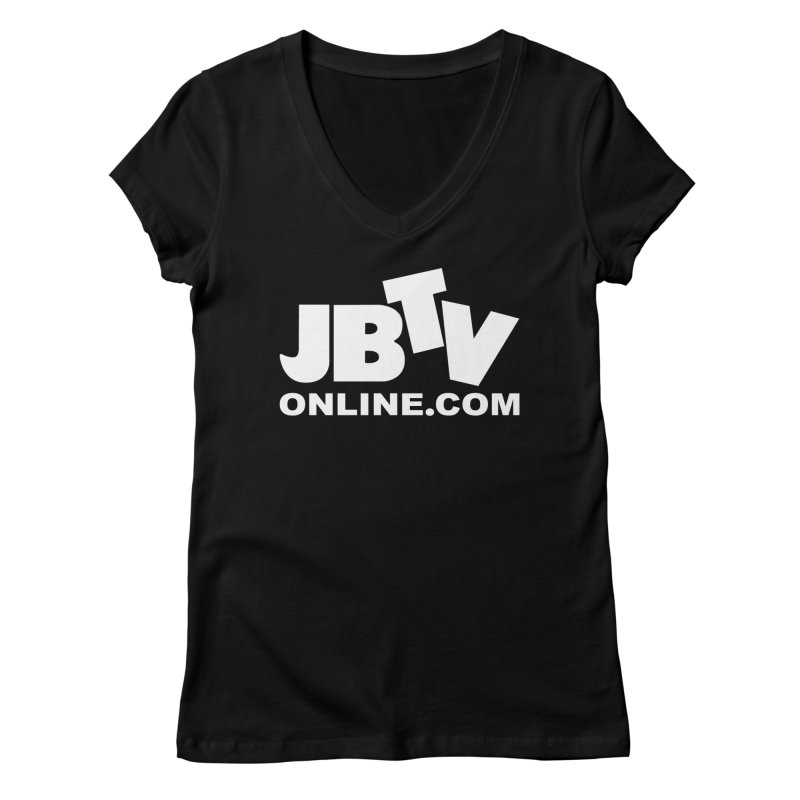 JBTV White Logo in Women's V-Neck Black by JBTV's Artist Shop