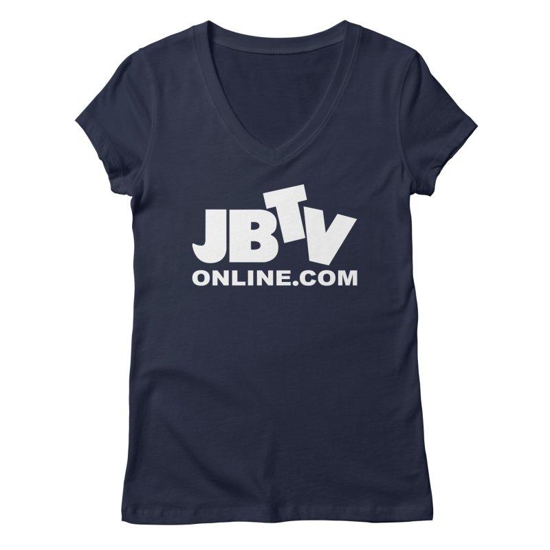 JBTV White Logo Women's Regular V-Neck by JBTV