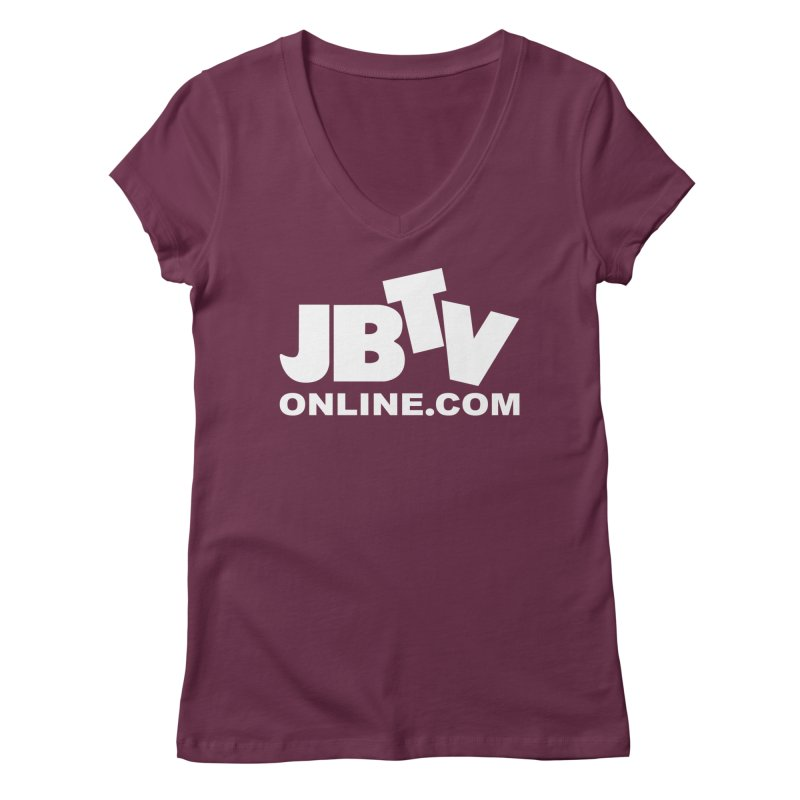JBTV White Logo Women's Regular V-Neck by JBTV