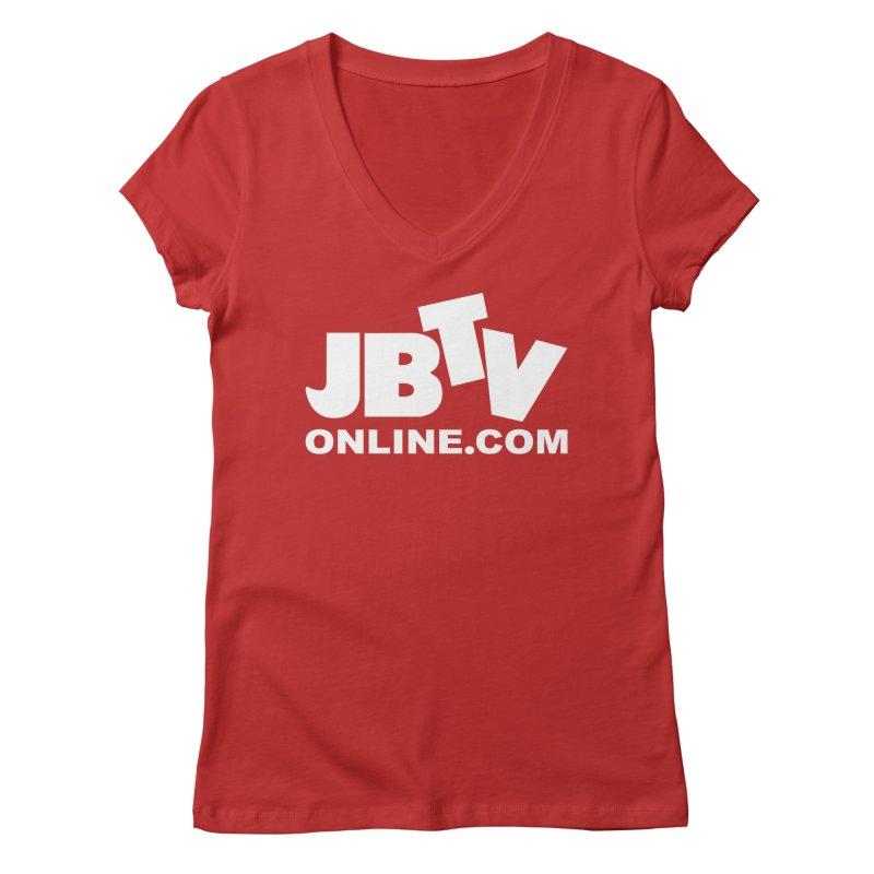 JBTV White Logo Women's Regular V-Neck by JBTV's Artist Shop
