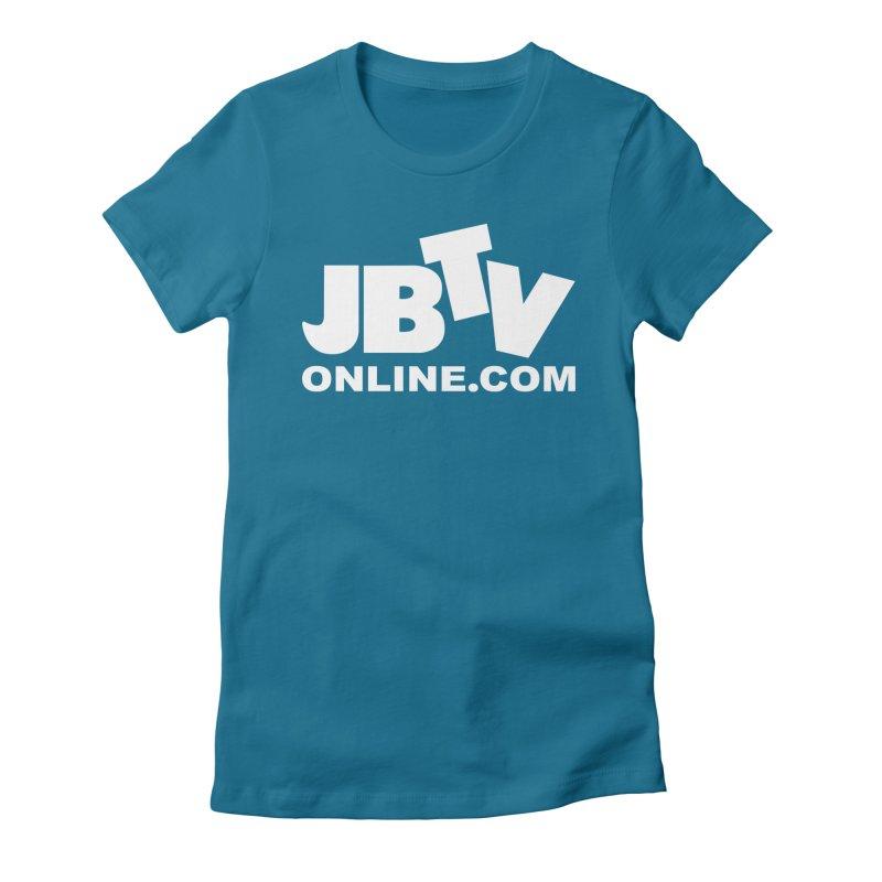 JBTV White Logo Women's Fitted T-Shirt by JBTV's Artist Shop