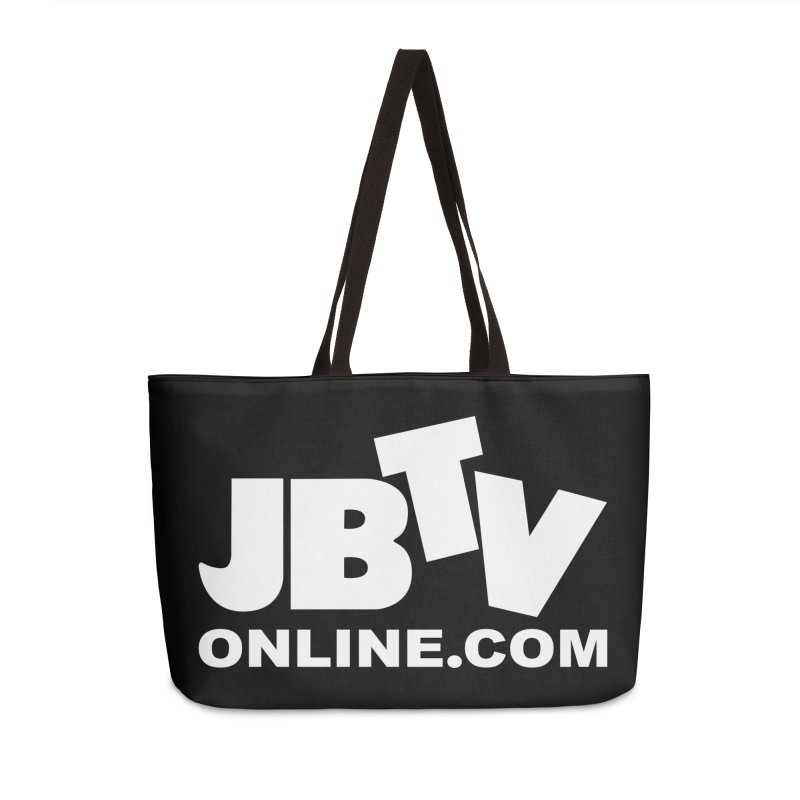 JBTV White Logo Accessories Weekender Bag Bag by JBTV