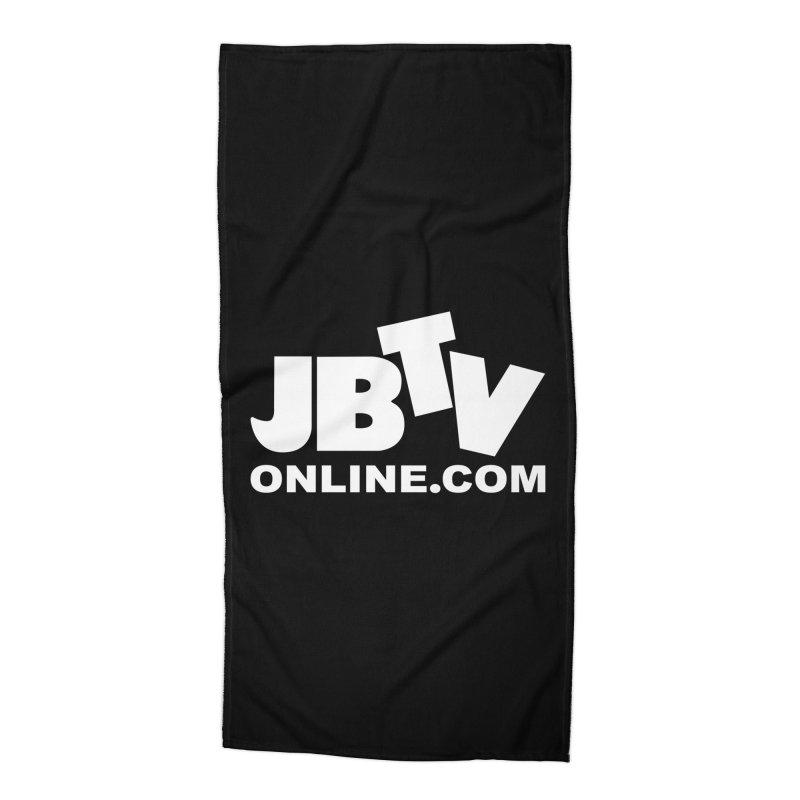 JBTV White Logo Accessories Beach Towel by JBTV's Artist Shop