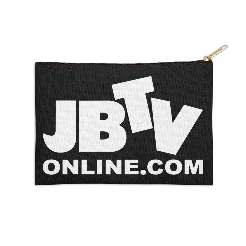 JBTV White Logo Accessories Zip Pouch by JBTV