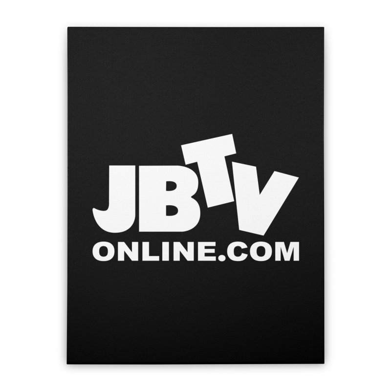 JBTV White Logo Home Stretched Canvas by JBTV's Artist Shop