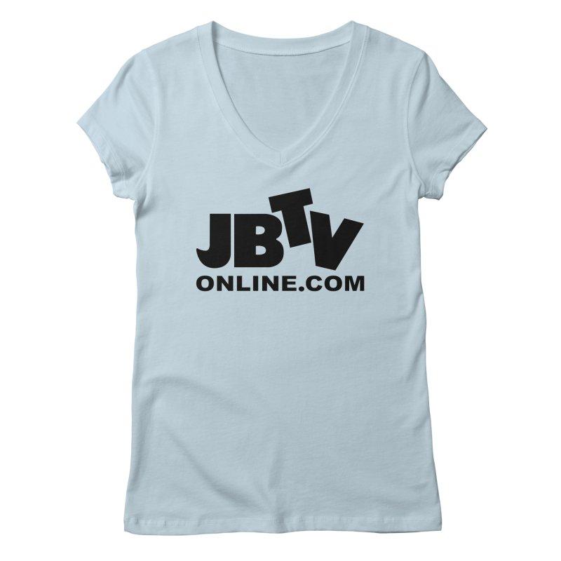 JBTV Black Logo Women's V-Neck by JBTV