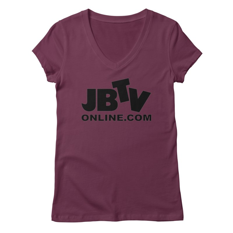JBTV Black Logo Women's Regular V-Neck by JBTV