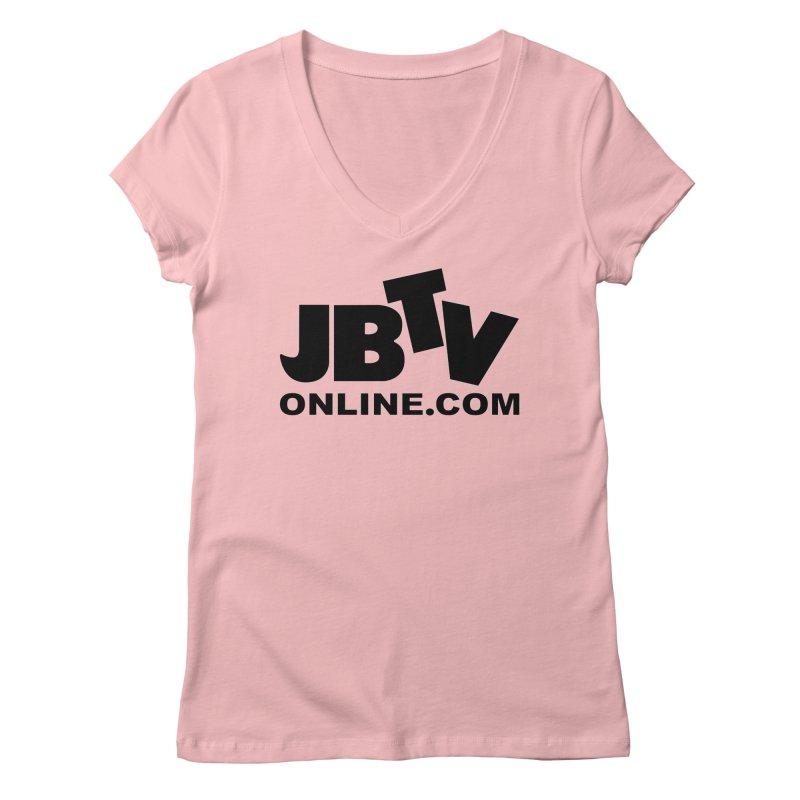 JBTV Black Logo Women's V-Neck by JBTV's Artist Shop
