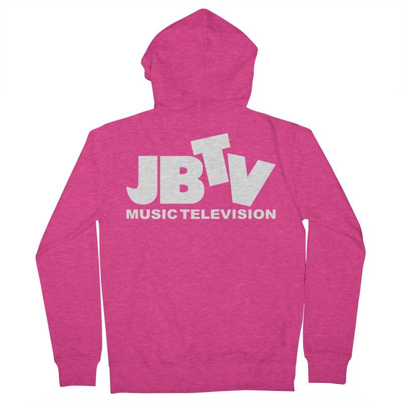 JBTV Music Television White Women's French Terry Zip-Up Hoody by JBTV's Artist Shop