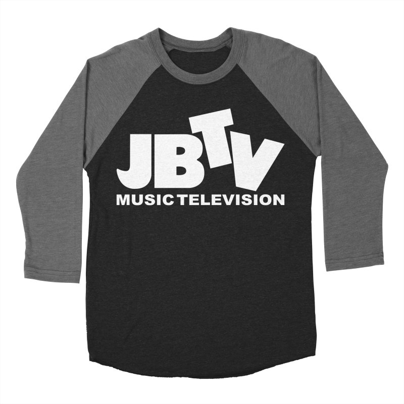 JBTV Music Television White in Men's Baseball Triblend T-Shirt Grey Triblend Sleeves by JBTV's Artist Shop