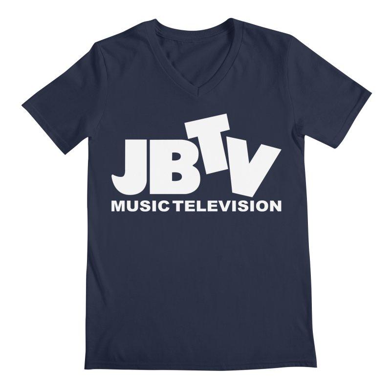 JBTV Music Television White Men's Regular V-Neck by JBTV