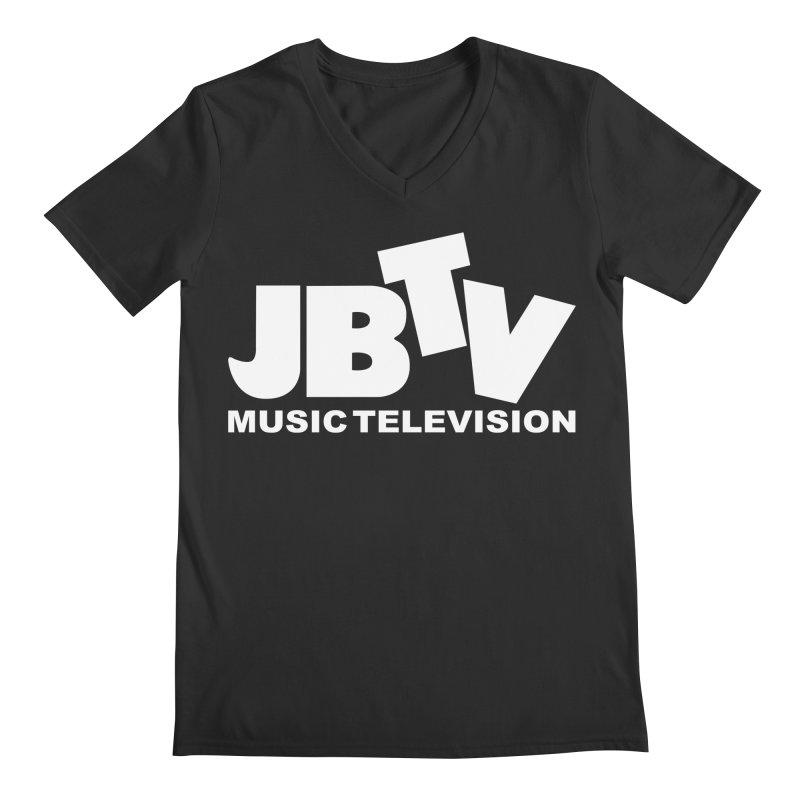 JBTV Music Television White Men's Regular V-Neck by JBTV's Artist Shop