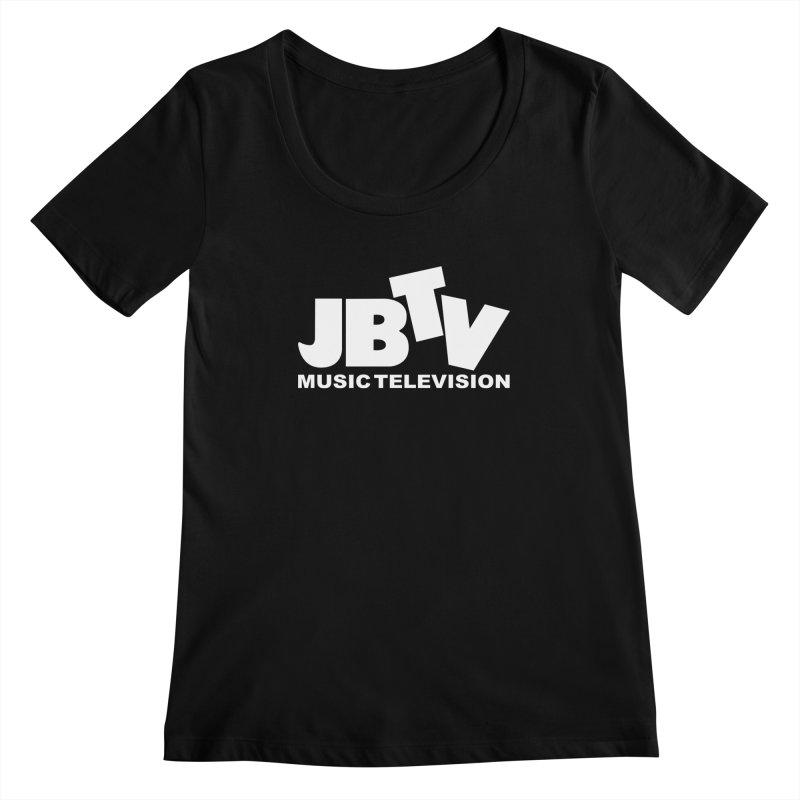 JBTV Music Television White Women's Scoopneck by JBTV's Artist Shop