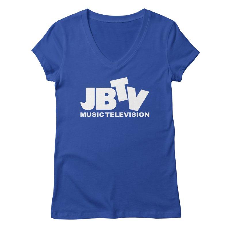 JBTV Music Television White Women's V-Neck by JBTV's Artist Shop