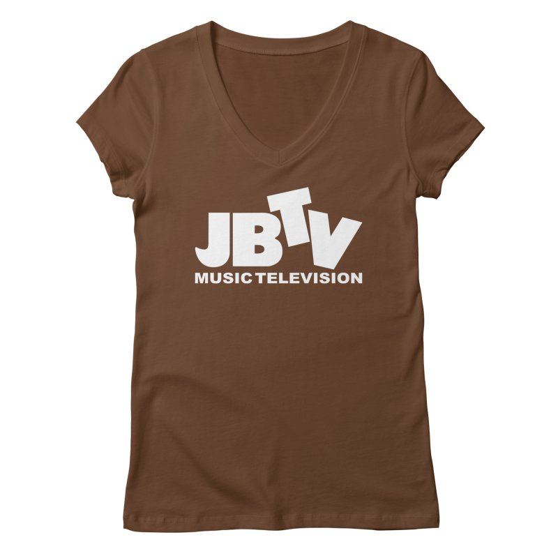JBTV Music Television White Women's Regular V-Neck by JBTV