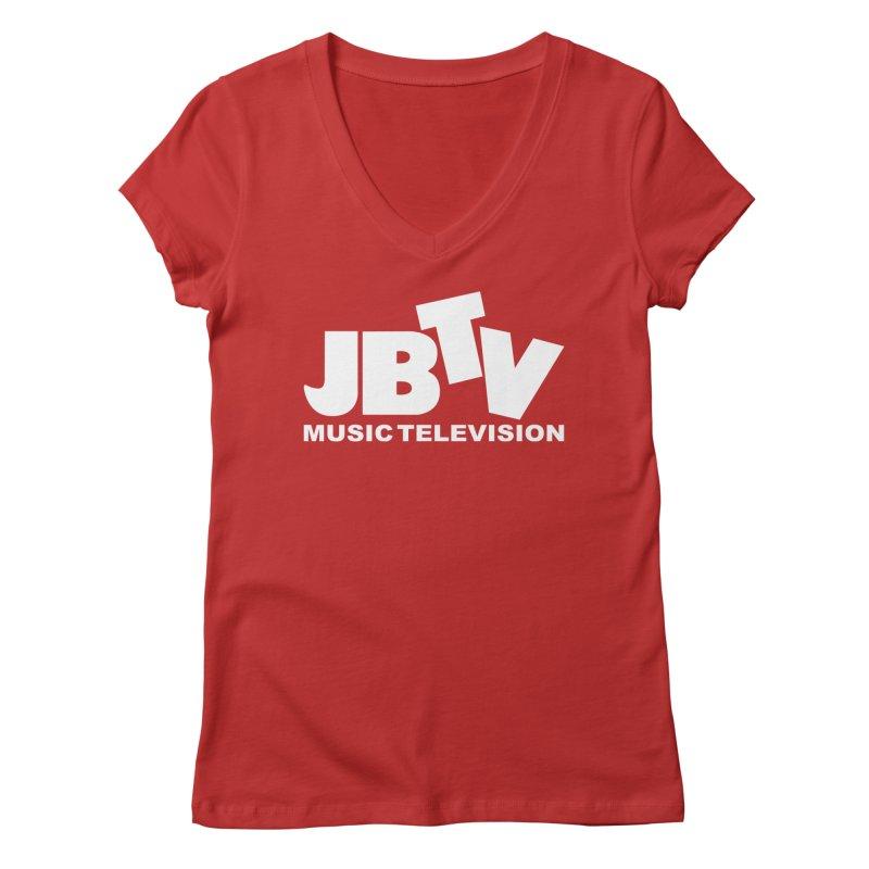 JBTV Music Television White Women's Regular V-Neck by JBTV