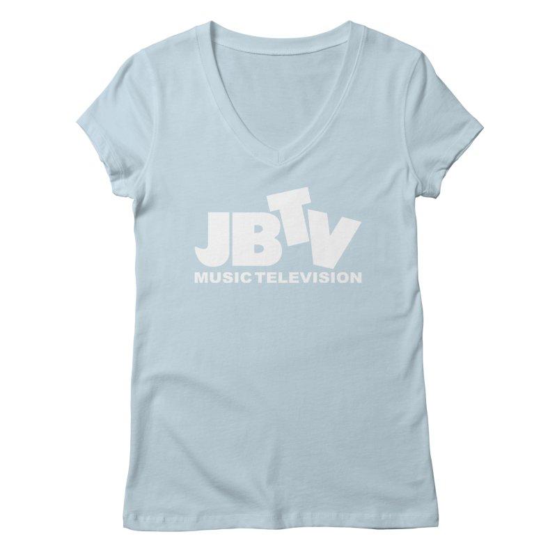 JBTV Music Television White Women's Regular V-Neck by JBTV's Artist Shop