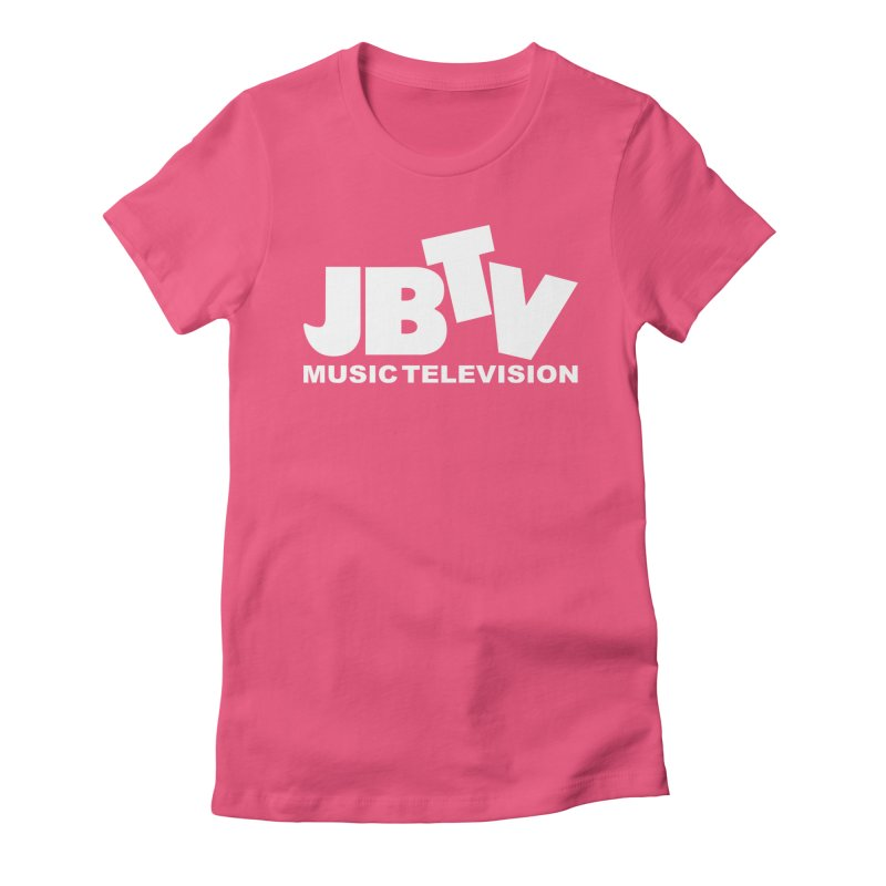 JBTV Music Television White in Women's Fitted T-Shirt Fuchsia by JBTV's Artist Shop