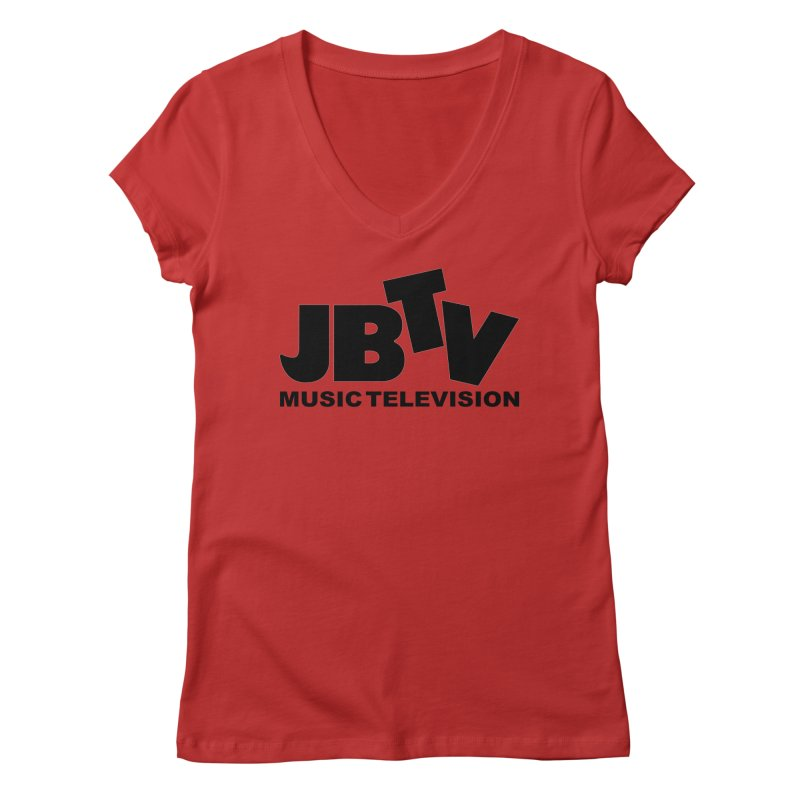 JBTV Music Television Black Women's Regular V-Neck by JBTV's Artist Shop