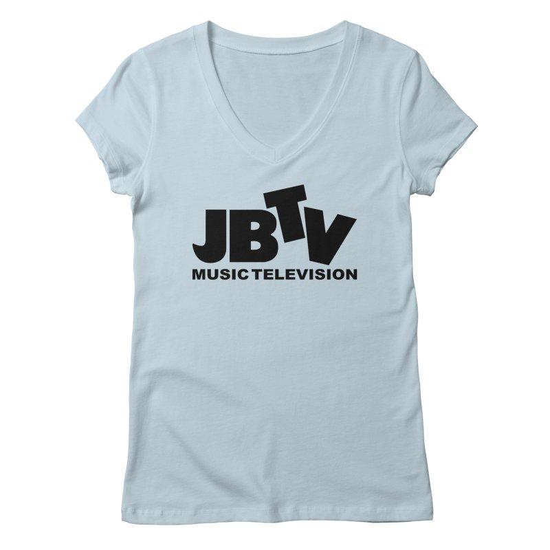 JBTV Music Television Black Women's V-Neck by JBTV's Artist Shop