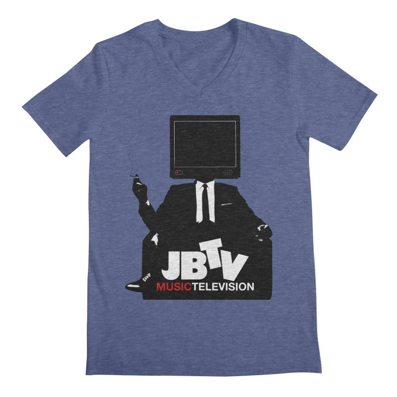 MAD FOR JBTV in Men's Regular V-Neck Heather Blue by JBTV