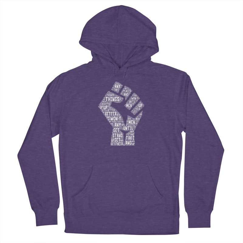 MEN STAND UP (white) Men's French Terry Pullover Hoody by J. Brantley Design Shop