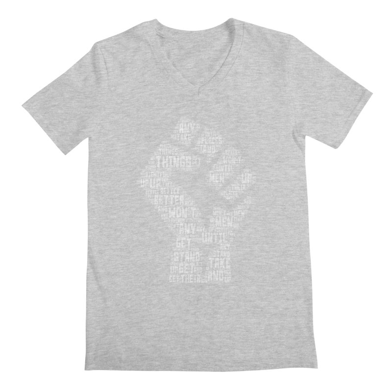 MEN STAND UP (white) Men's Regular V-Neck by J. Brantley Design Shop
