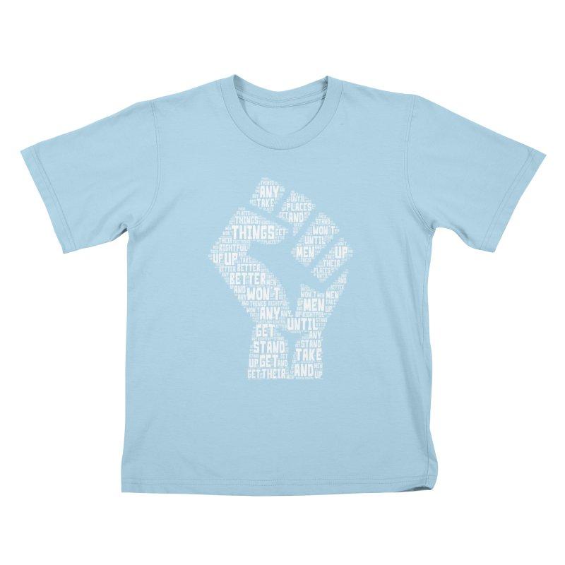 MEN STAND UP (white) Kids T-Shirt by J. Brantley Design Shop
