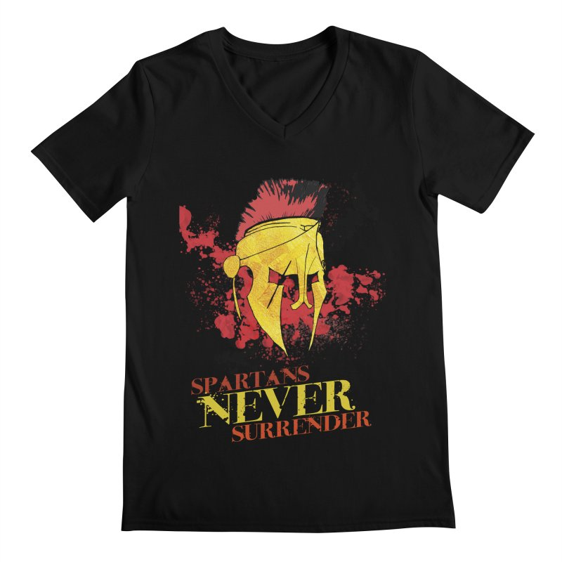 Spartans NEVER surrender Men's V-Neck by JMBlaster's Artist Shop