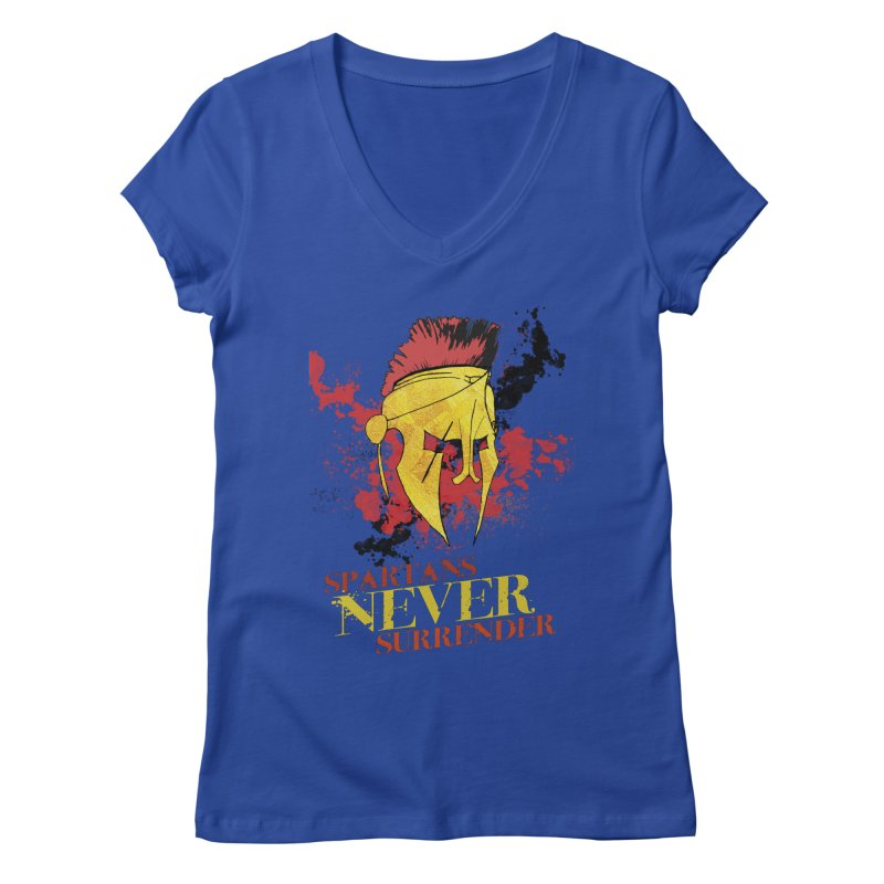Spartans NEVER surrender Women's V-Neck by JMBlaster's Artist Shop