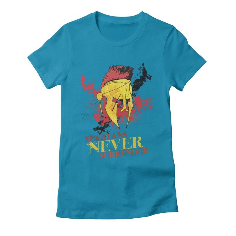Spartans NEVER surrender Women's Fitted T-Shirt by JMBlaster's Artist Shop