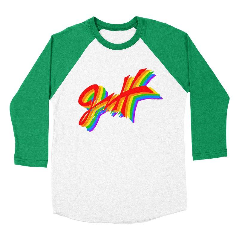 JNH RAINBOW LOGO in Men's Baseball Triblend Longsleeve T-Shirt Tri-Kelly Sleeves by JNH-MERCH!