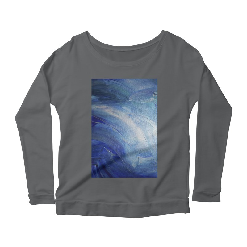 Blue Shimmer Women's Scoop Neck Longsleeve T-Shirt by Janet Gervers Art Shop