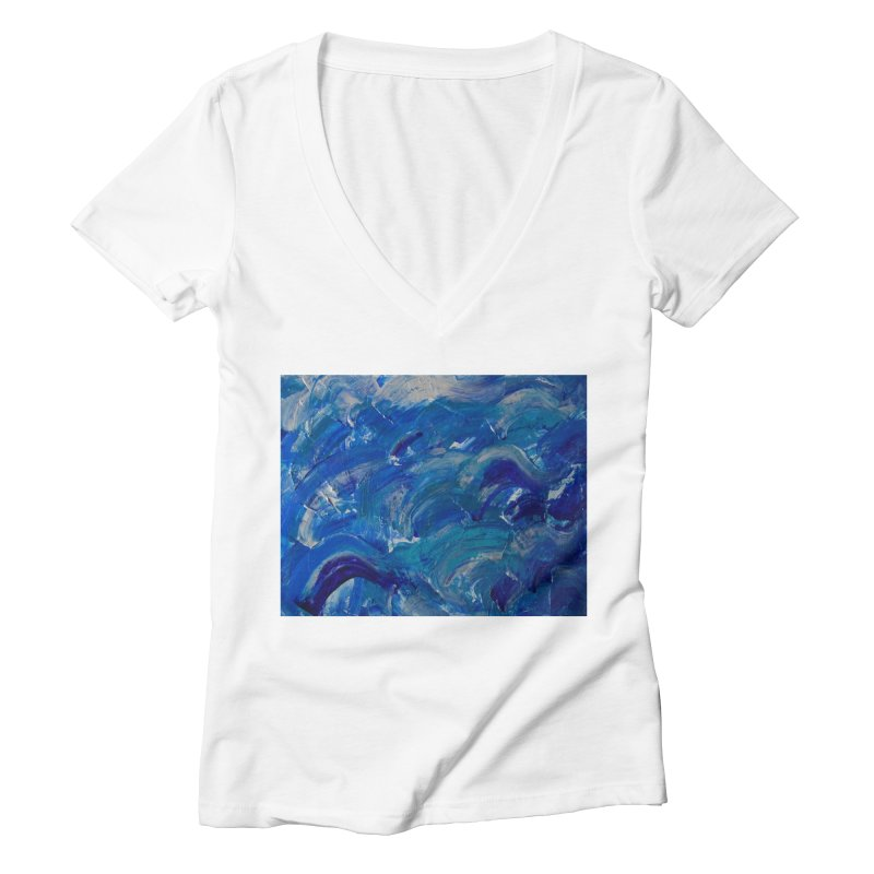 Shimmering Waves Women's Deep V-Neck V-Neck by Janet Gervers Art Shop