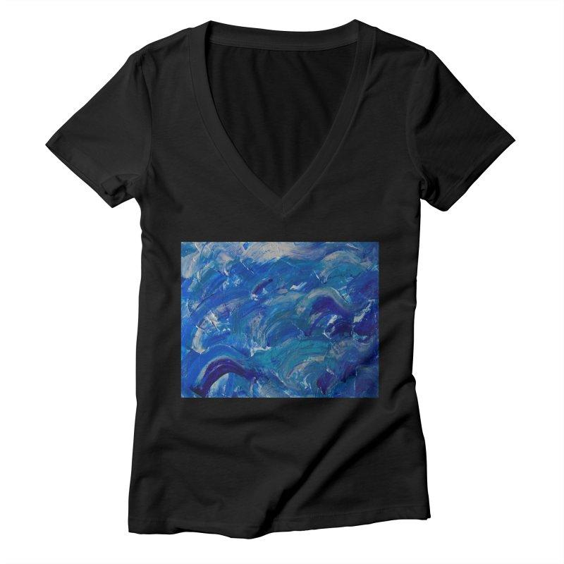 Shimmering Waves Women's V-Neck by Janet Gervers Art Shop