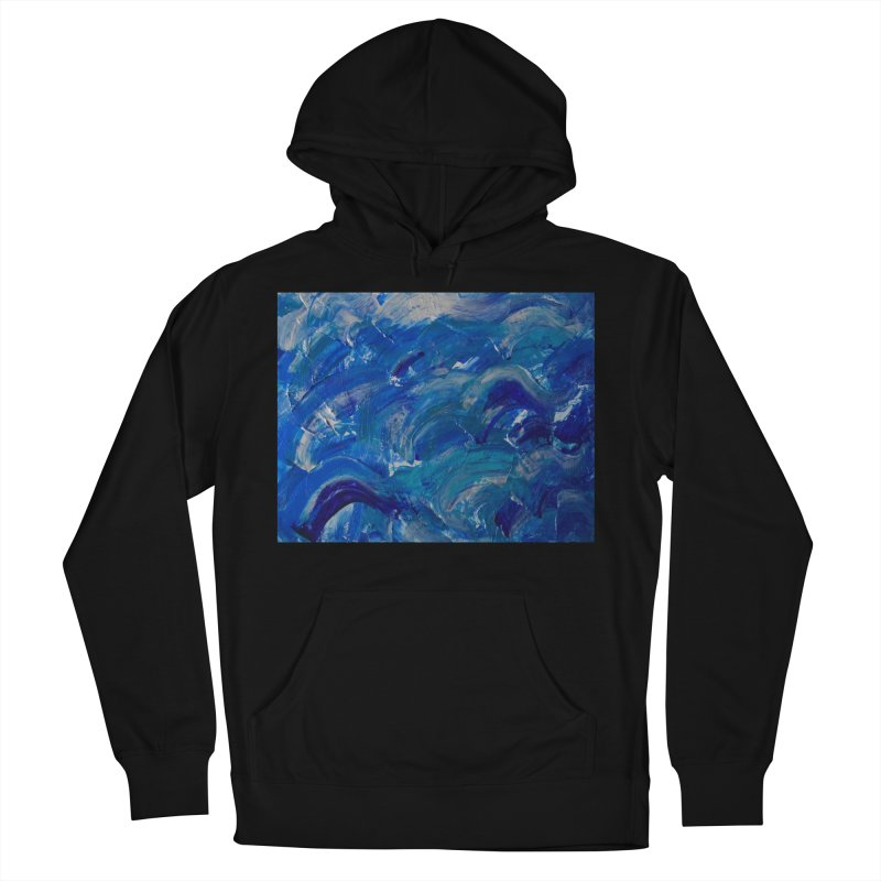 Shimmering Waves Men's French Terry Pullover Hoody by Janet Gervers Art Shop