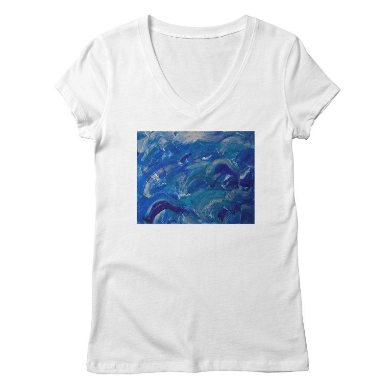 Shimmering Waves Women's Regular V-Neck by Janet Gervers Art Shop