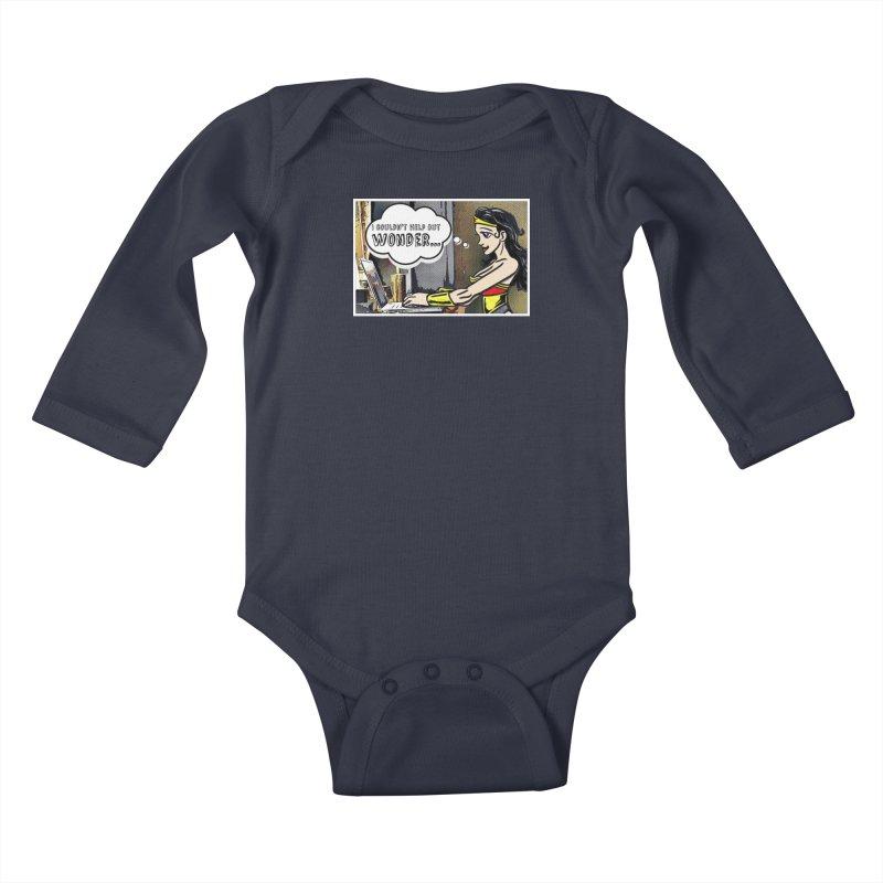Couldn't Help But Wonder Kids Baby Longsleeve Bodysuit by Jason Lloyd Art