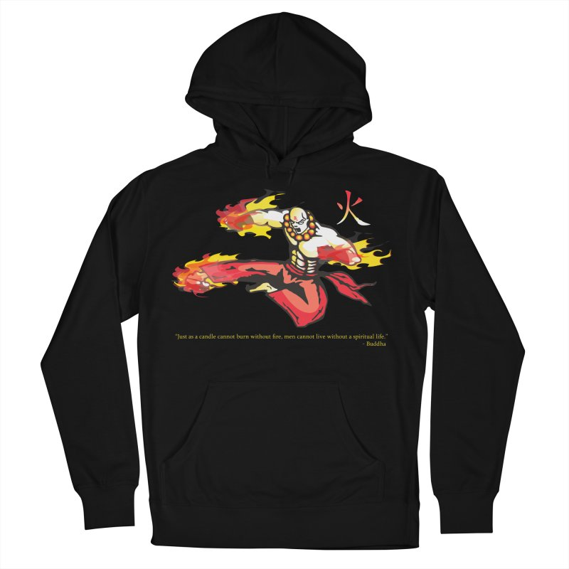 Monk On Fire in Women's French Terry Pullover Hoody Black by Jason A. Das - Chameleon Studios